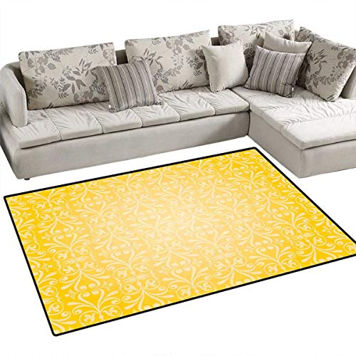 (Vintage Yellow Anti-Static Area Rugs Victorian Style Swirls Timeless Royal Motifs Monochrome Curves Children Kids Nursery Rugs Floor Carpet 4'x6' Yellow and Pale Yellow)