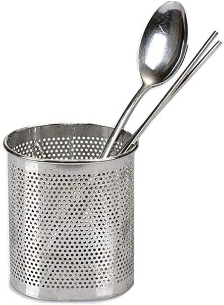 Chopsticks Cutlery and Utensil Holder Drying Rack Basket Perforated Stainless Steel with Hook (Oval Shape) - Dishwasher Safe Compact Size