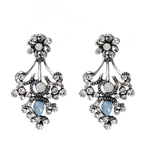 [She Lian Vintage Fashion Front Back Rhinestone Stud and Ear Jacket Earrings for Women Mismatch Style (Antique Silver] (Cute Unique Costumes)