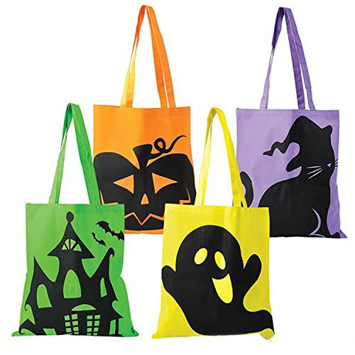 Halloween Tote Bags - 12 PACK - LARGE 15 x 16 inch Trick or Treat Tote Bags