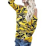 Spbamboo Women Camo Off Shoulder Camouflage Long Sleeve Blouse Tops T-Shirt