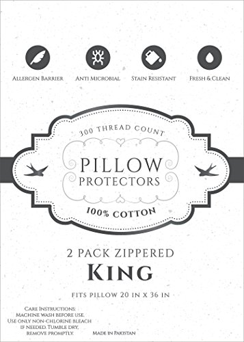 Home Fashion Designs 8-Pack 100% Cotton Allergy Control Pillow Protectors. Hypoallergenic Dust Mite & Bed Bug Resistant 400 Thread Count Zippered Pillow Covers. Lifetime Replacement (King) by Home Fashion Designs (Image #3)
