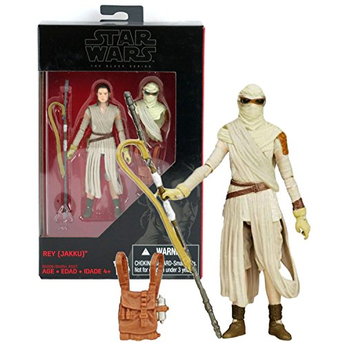 Hasbro Year 2015 Star Wars The Black Series Exclusive 4 Inch Tall Action Figure - REY JAKKU (B5006) with Removable Desert Head Cover, Staff and Backpack