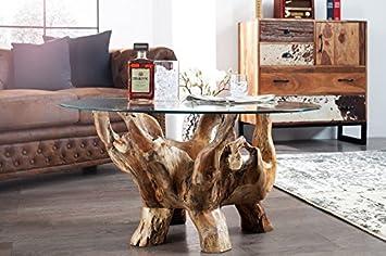 DuNord Design Couchtisch Glastisch Treibholz Tisch Rund Bogota 90cm  Teakholz Massiv Glastisch