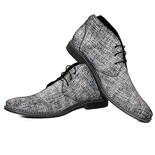 Modello Grislo - Handmade Italiano da Uomo in Pelle Grigio Chukka Boots - Vacchetta Scamosciato - Allacciare
