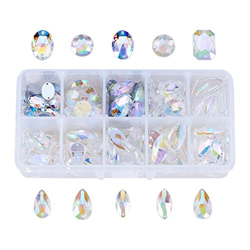 PandaHall Elite 150 Pcs Acrylic Sew on Rhinestone Faceted Flatback Crystal Buttons Gems 10 Styles for Clothing Wedding Dress Decoration Clear