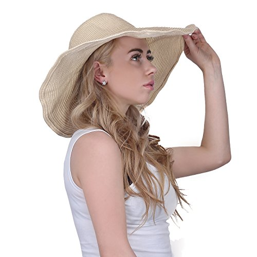 HDE Women's Floppy Packable Wide Brim Sun Shade Derby Beach Straw Hat (Straw Derby)