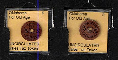 OKLAHOMA 1943-1952 Five Mills Sales Tax Token --22mm --With Hole--Red/Brown Cardboard