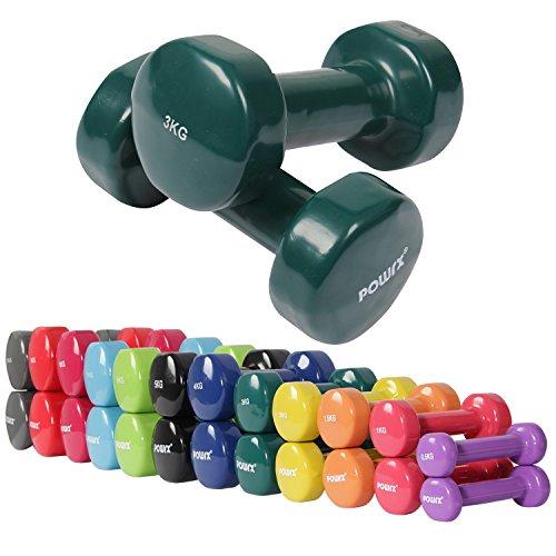 Vinyl Hantel Paar Ideal für Gymnastik Aerobic Pilates 0,5 kg - 10 kg | Kurzhantel Set in versch. Farben (2 x 3 kg)