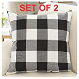 DR.NATURE Burlap Farmhouse Decor Checkers Plaid Cotton Linen Decorative Throw Pillow Cover Rustic Cushion Cover Pillowcase for Sofa 18 x 18 Inch, Set of 2 Black/White