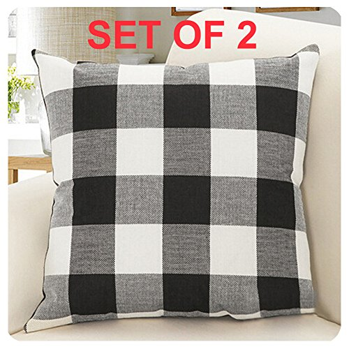 (Burlap Farmhouse Decor Buffalo Checkers Plaid Cotton Linen Decorative Throw Pillow Cover Rustic Cushion Cover Pillowcase for Sofa 18 x 18 Inch, Set of 2 (Black/White, 18