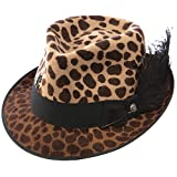 CHARLIE 1 HORSE HATS Womens On The Prowl Fedora Hat L Leopard