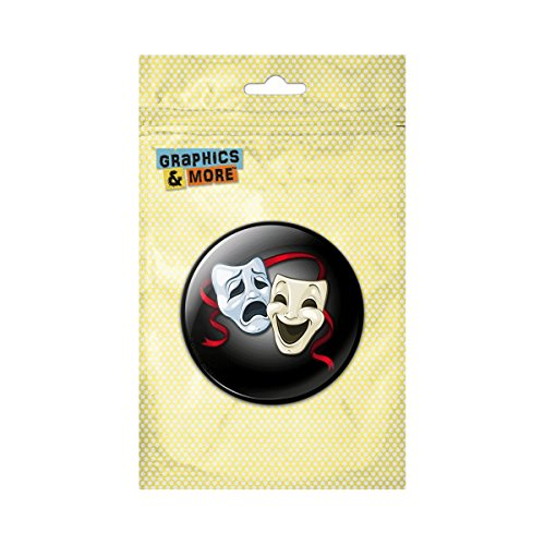 Drama Comedy Tragedy Masks Theater Pinback Button Pin Badge - 1 Inch Diameter (Comedy Tragedy Drama Masks)