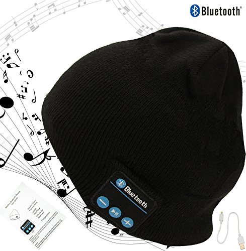 Bluetooth Beanie Warmest Winter Bluetooth Stocking Hat Beanie Headphones Made of Tight Knit by Magical Imaginary (black) ()