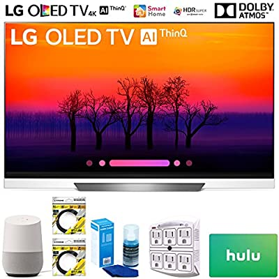 """LG OLED65E8PUA 65"""" Class E8 OLED 4K HDR AI Smart TV 2018 Model (OLED65E8PUA) with Google Home, 2x 6ft HDMI Cable, Screen Cleaner for LED TVs, 6-Outlet Surge Adapter & 100 Hulu PLUS Gift Card"""