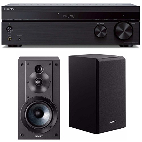 tereo Receiver with Phono Inputs & Bluetooth with Sony SSCS5 3-Way 3-Driver Bookshelf Speaker System (Black) (Stereo Receiver Phono Input)