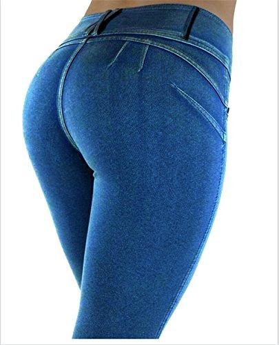 Grande Haute Hoverwings mince taille Loisirs L lasticit Women's pantalon tait Bleu taille Slim Rouge Ww44qUa1
