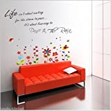 Walplus Wall Stickers Dance In The Rain Butterflies Removable Self-Adhesive Mural Art Decals Vinyl Home Decoration DIY Living Bedroom Décor Wallpaper Kids Room Gift, Multi-colour