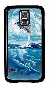 Diy Fashion Case for Samsung Galaxy S5,Black Plastic Case Shell for Samsung Galaxy S5 i9600 with Dolphin