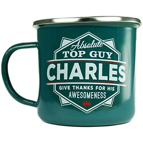 Charles, Large Camping Coffee Mug, Enamel, 14 oz, Multi-Colored, Light-Weight, Retro Inspired for Men