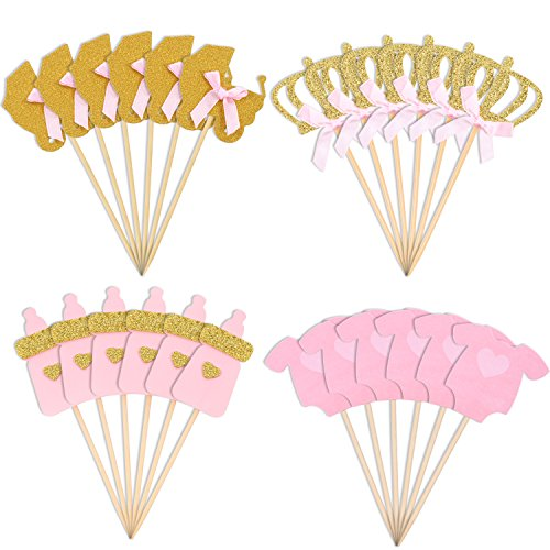 Jetec 48 Pieces Pink and Gold Girl Baby Shower Cupcake Toppers Cake Toppers Picks for Girls Birthday Party Favor Kit ()