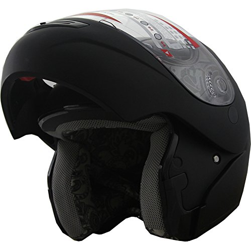 Snowmobile Helmet Modular (Snowmobile Helmet Modular Flip up Anti Fog Flat Black 306 (L))