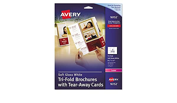 amazon com avery 16152 tri fold brochure w tear away cards 8 1 2 x