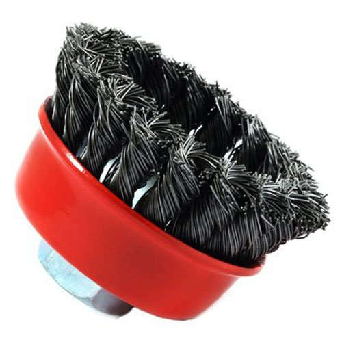 Forney 72757 Wire Cup Brush, Knotted with 5/8-Inch-11 Threaded Arbor, 2-3/4-Inch-by-.020-Inch ()