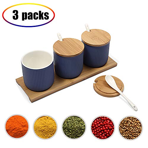 Ceramic Food Storage Spice Containers with Bamboo Lid- Porcelain Jar- Perfect Canister for Sugar Bowl, Serving Tea, Coffee, Spice,Nuts jar, Holding Dressings, Dipping, Salad Bar Serving- - Blue Condiment Set