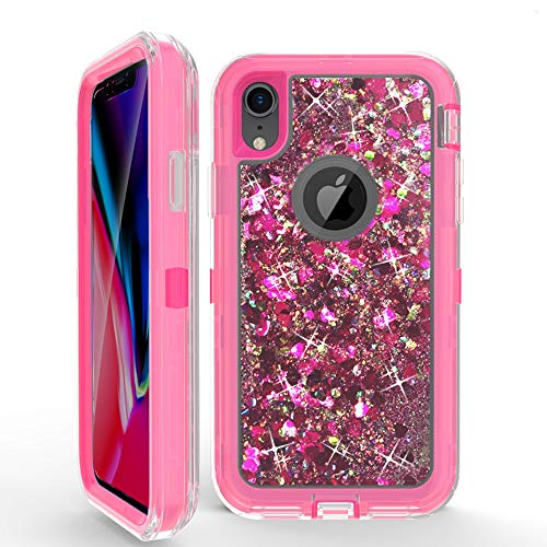 Hot Pink Bling - for iPhone Xs,iPhone Xs MAX,QI&KE Shockproof Heavy Duty Impact Resistant Sparkle Bling Quicksand Liquid Dual Layers Bumper PC + TPU for iPhone Xs/XS MAX (2018 Release) (Hot Pink, iPhone Xs MAX)