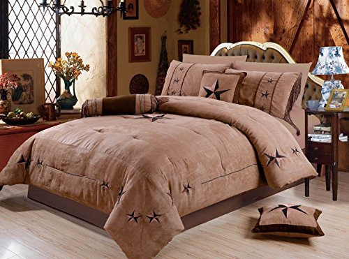 (Rustic 7 Piece Luxury Beautiful Embroidery Western Texas Lone Star Lodge Oversize Micro Suede Comforter Set Light Dark Brown Bedding Set (King))