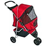 Red Pampered Pet Jogging Stroller for Small Dogs and Cats
