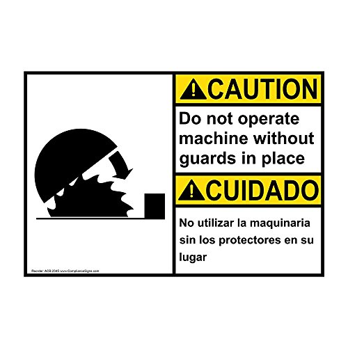 Caution Do Not Operate Machine Without Guards in Place English + Spanish ANSI Safety Label Decal, 5x3.5 in. Vinyl 4-Pack by ComplianceSigns
