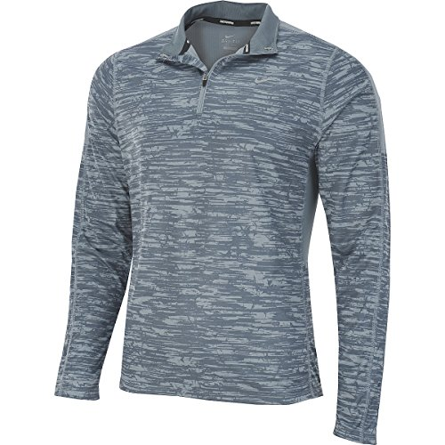 Nike Men's Printed Racer Dri Fit 1/4 Zip Running Shirt Top Grey (Mens Printed Racer)