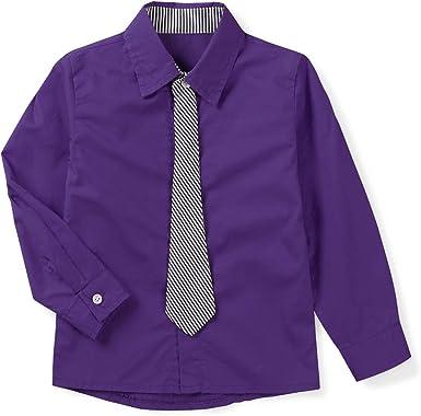 Aeslech Camisa de vestir para niño, manga larga, con botones y corbata.