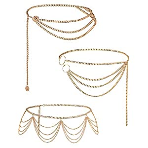 Hicarer 3 Pieces Belly Waist Chain Multi-Layer Metal Waist Chain Body Summer Beach Jewelry for Women and Girls (Tassel…