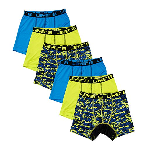 Layer 8 6-Pack Performance Sports Boxer Briefs for Boys, Asst Blue/Yellow/Camo, Medium ()