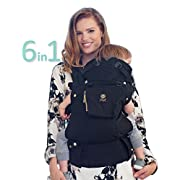 LÍLLÉbaby The COMPLETE Original SIX-Position, 360° Ergonomic Baby & Child Carrier, Black/Gold - Cotton Baby Carrier, Comfortable and Ergonomic, Multi-Position Carrying for Infants Babies Toddlers