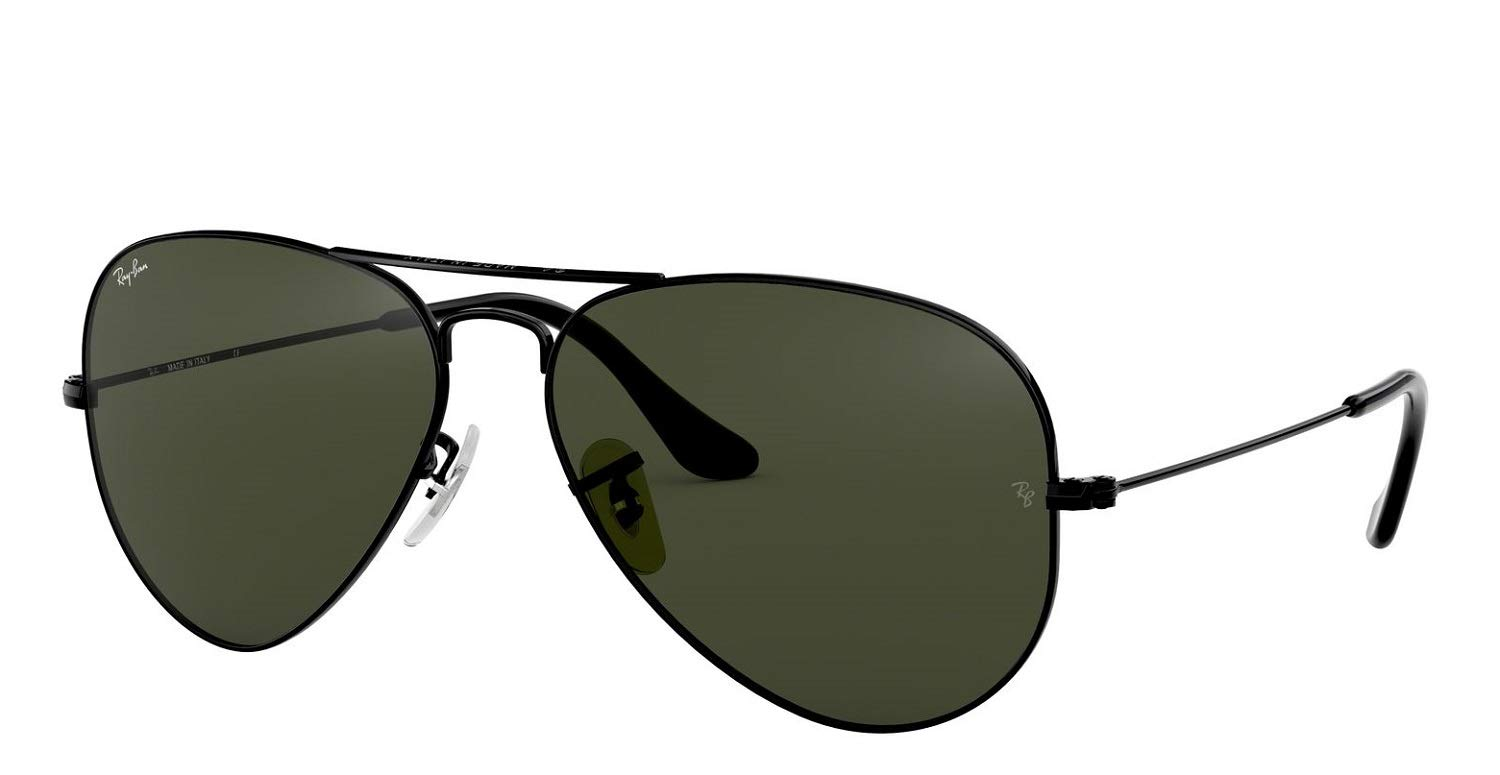 Ray-Ban RB3025 Aviator Sunglasses (58 mm, Gold Metal Frame/Non-Polarized Green G-15 Lens) by Ray-Ban