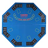 48'' 4 FOLD FOLDING PRO STYLE 8 PLAYERS OCTAGON POKER TABLE TOP VELVET TABLETOP BLACKJACK TEXAS HOLDEM GAME CHOICE WITH CARRYING CASE - BLUE