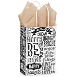 Chalkboard Sentiments Paper Shopping Bags - Rose Size - 5 1/2 x 3 1/4 x 8 3/8in. - 200 Pack