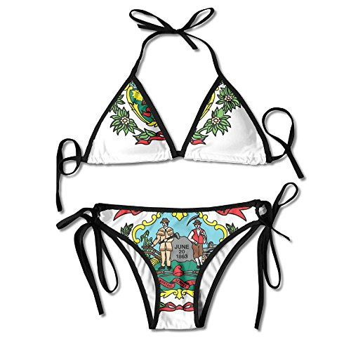 Women's WEST Virginia State Flag Original Design Sexy Tie Side Lace Triangle Chic Swimsuits for Girl