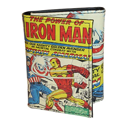Marvel Comics Character Leather Trifold Wallet with Gift Tin Box (Captain America vs. Iron Man (Marvel Comics Characters)