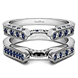 Silver Cathedral Style Ring Guard with Diamonds and Sapphire (0.55 ct. twt.)