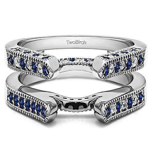 Silver Cathedral Style Ring Guard with Diamonds and Sapphire (0.55 ct. twt.) by TwoBirch