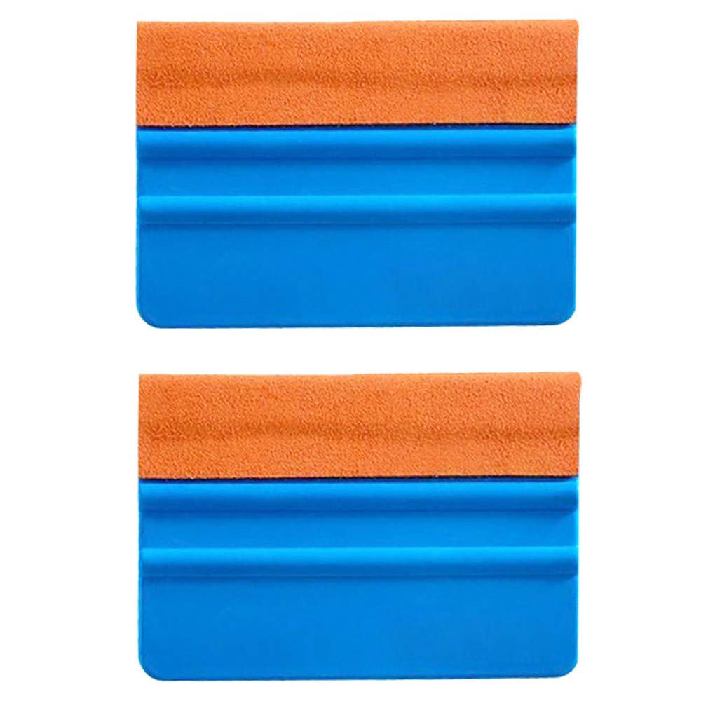 EEFUN Durable Suede Felt Edge Squeegee 4 Inch Car Vinyl Film Wrapping Squeegee Window Tint Working Tool, Professional Scratch Free Squeegee,Pack of 2