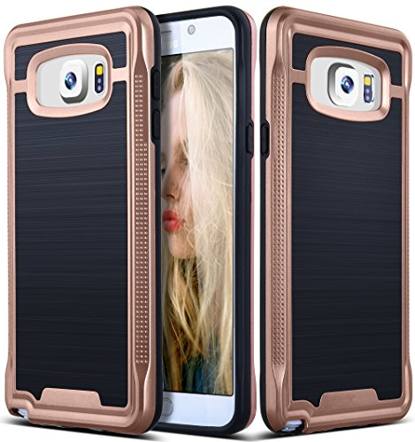 Galaxy Note 5 Case, Ansiwee Shockproof Phone Cover, Galaxy Note 5 Cover, Soft TPU Bumper Hard PC Case Brushed PC Texture Protective Armor for Samsung Galaxy Note 5 (Rose Gold) (Phone Case Samsung Galaxy 5)