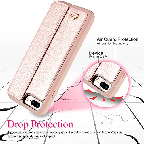 iPhone 7 Plus Wallet Case, iPhone 8 Plus Card Holder Case, ZVEdeng Shockproof Leather Wallet Case with Credit Card Slot Holder for Apple iPhone 7 PLUS/iPhone 8 Plus - Rose Gold by ZVEdeng (Image #8)