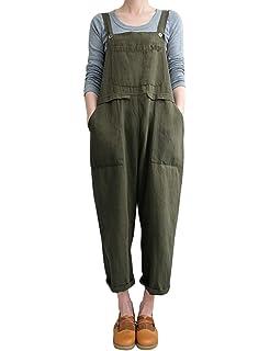 SportsX Womens Tenths Pants Suspenders Cute Pocket Baggy Style Bibs Jumpsuits