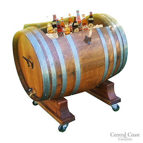 Barrel Cooler Wine (60 Gallon Wine Barrel Ice Chest - Wine Barrel Handcrafted - Central Coast Creations - Wine Barrel Furniture)